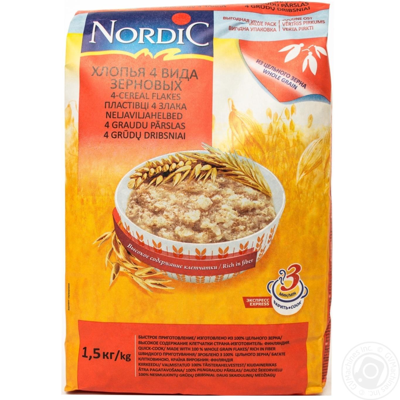 Купить Хлопья Нордик 4 вида зерновых из цельного зерна 1500г