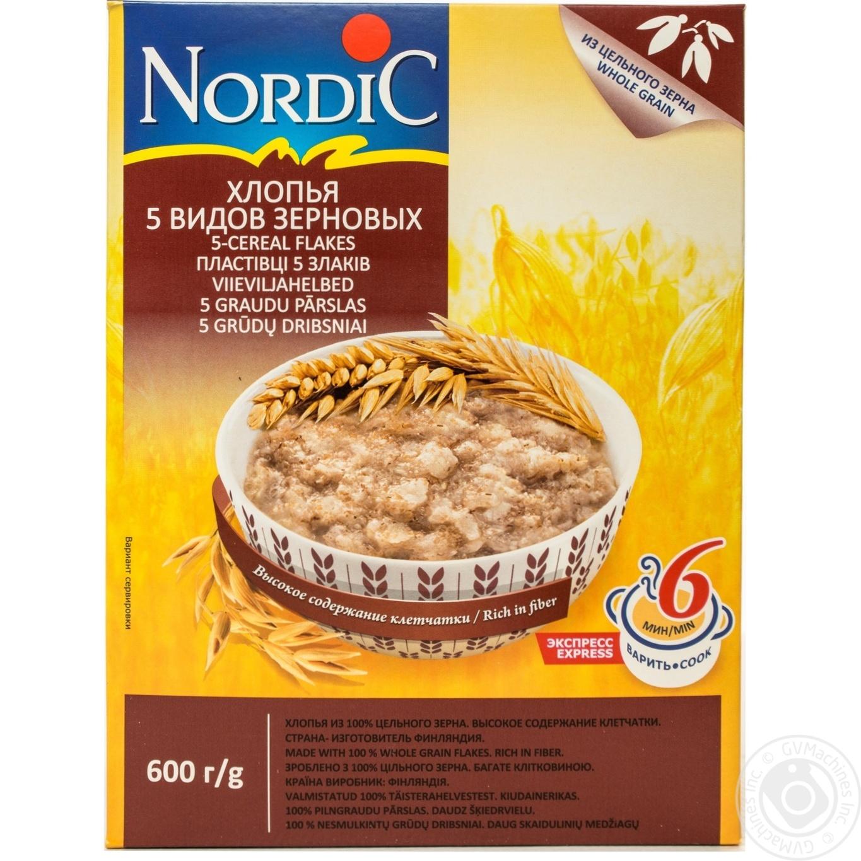 Купить Хлопья Нордик 5 видов зерновых из цельного зерна 600г
