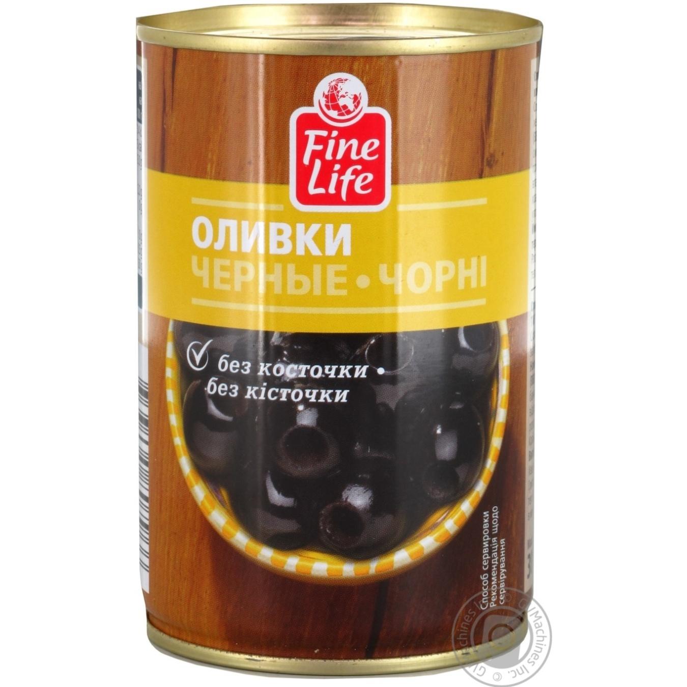 Купить Оливки Fine Life черные консервированные без косточки 300г