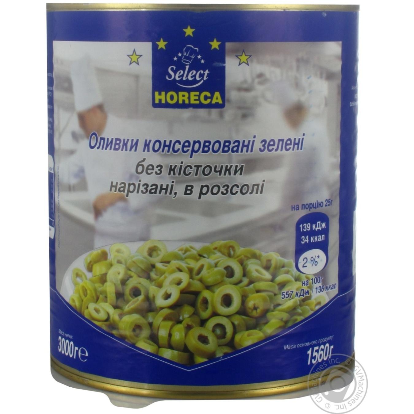 Купить Оливки консервированные Horeca Select зеленые без косточек нарезанные в рассоле 3кг