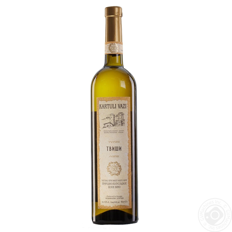Купить Вино белое Картули Вази Твиши натуральное виноградное высококачественное природно-полусладкое 10.5% 750мл