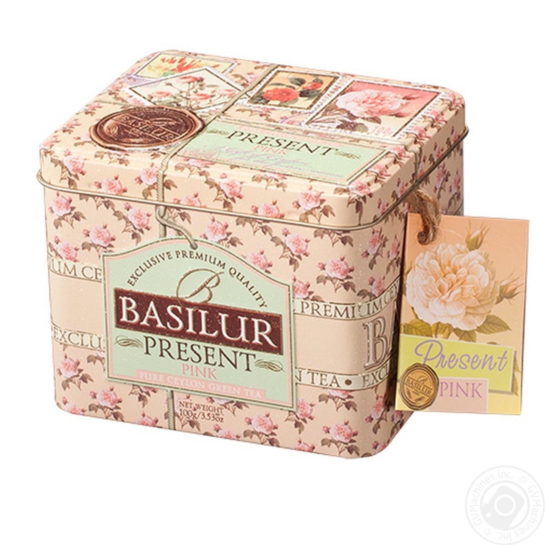 Купить Чай Basilur Рожевий Подарунок зелений цейлонський крупнолистовий зі шматочками фруктів 100г