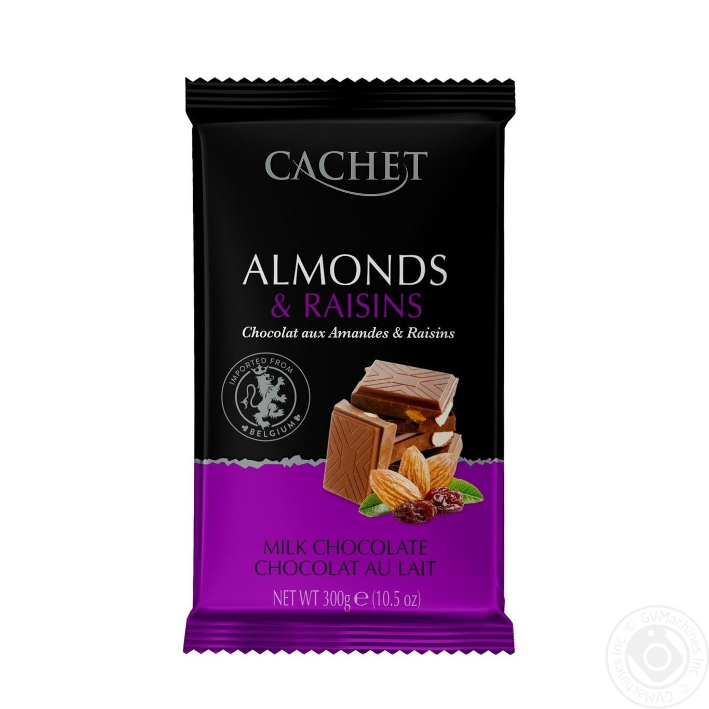 Купить Шоколад молочний Cachet мигдаль і родзинки 300г