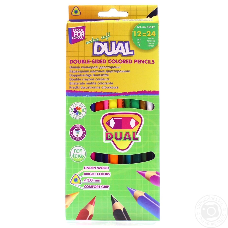 Купить Ручки, олівці, маркери, Олівці кольорові Cool for school extra soft dual двосторонні трикутні 12шт