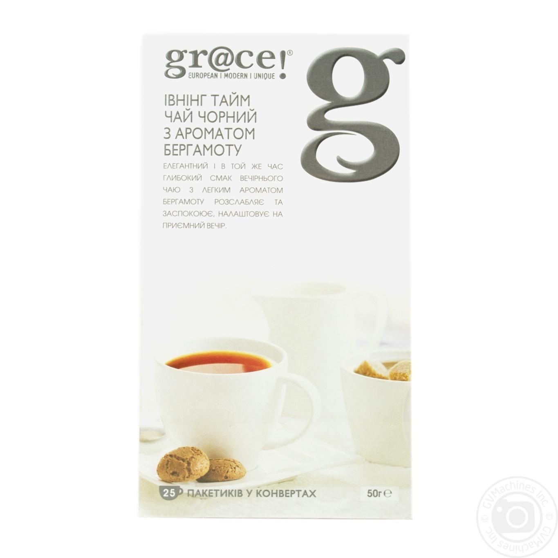 Купить Чай Грэйс! Ивнинг Тайм черный с маслом бергамота в пакетиках 25х2г