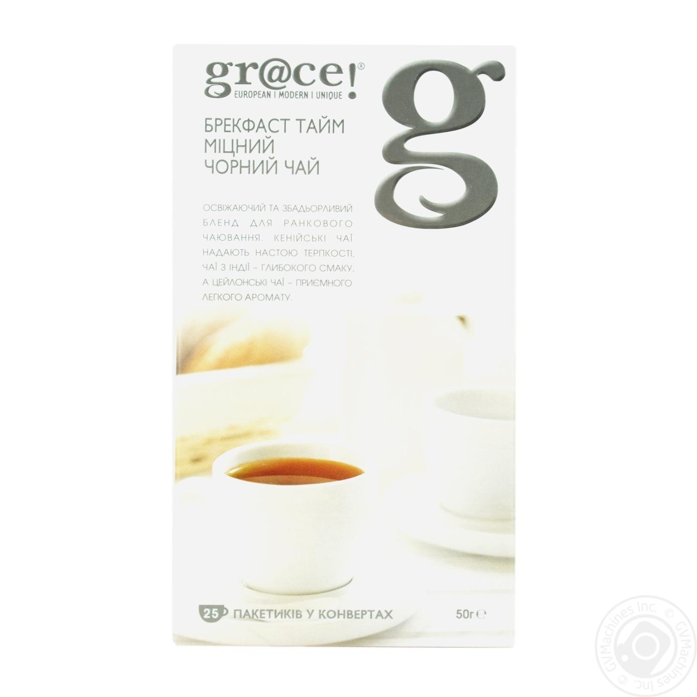 Купить Черный чай Грэйс! Брэкфаст Тайм крепкий в пакетиках 25х2г