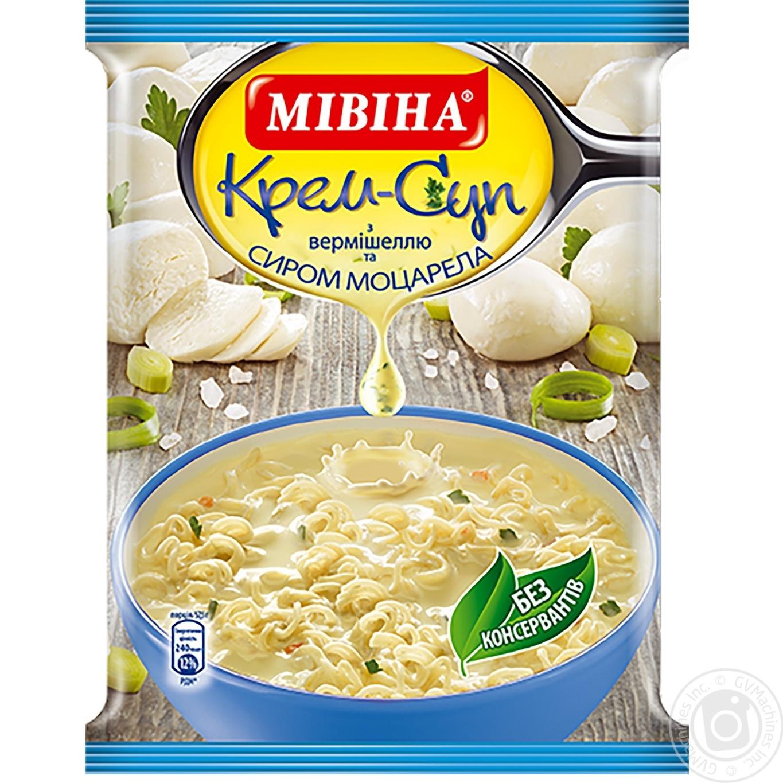 Купить Крем-суп Мивина с вермишелью и сыром моцарелла 57.5г