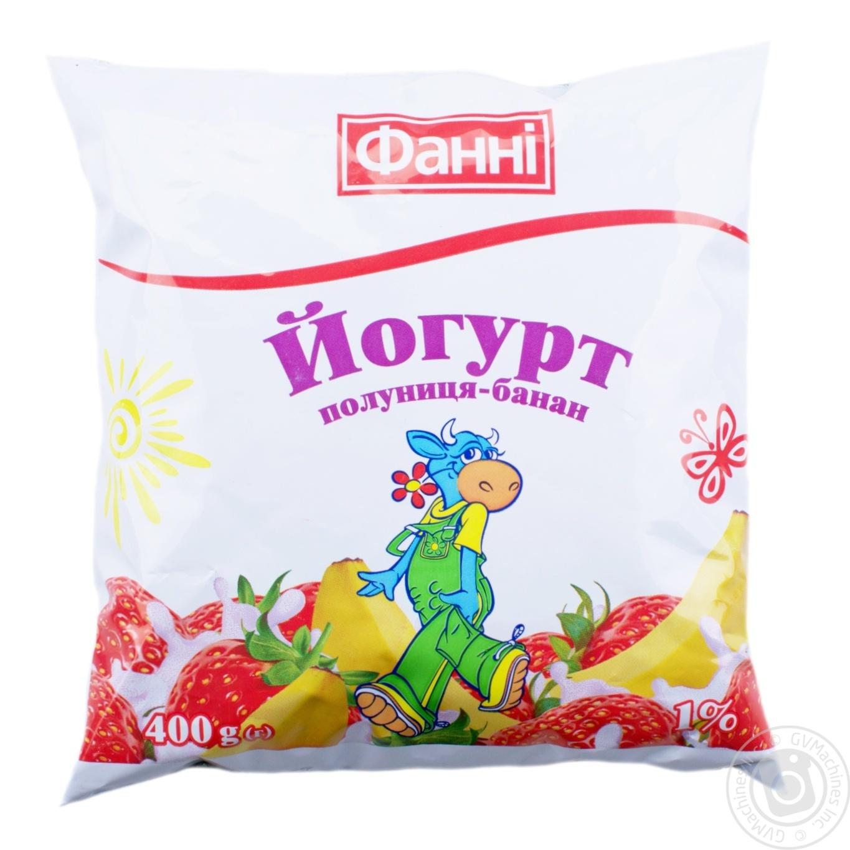Купить Йогурт Фанни Клубника-Банан 1% 400г