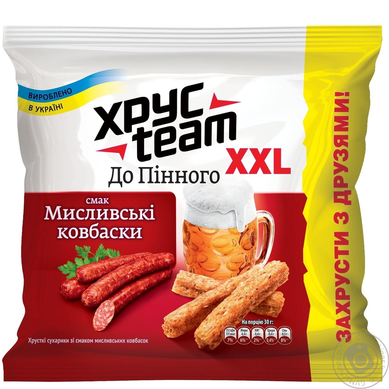 Купить Сухарики ХрусTeam со вкусом охотничьи колбаски 110г