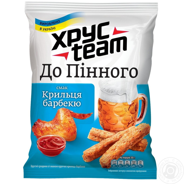 Купить Сухарики ХрусTeam со вкусом куриных крылышек барбекю 70г
