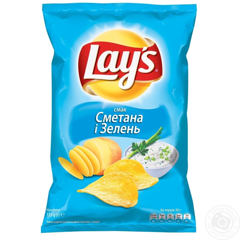 Купить Чипсы Lay's со вкусом сметаны и зелени 133г