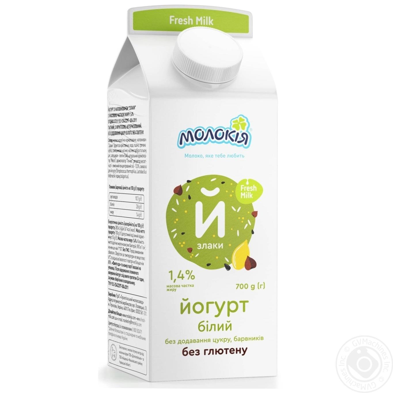 Купить Йогурт Молокія Злаки білий солодкий без глютену 1.4% 700г