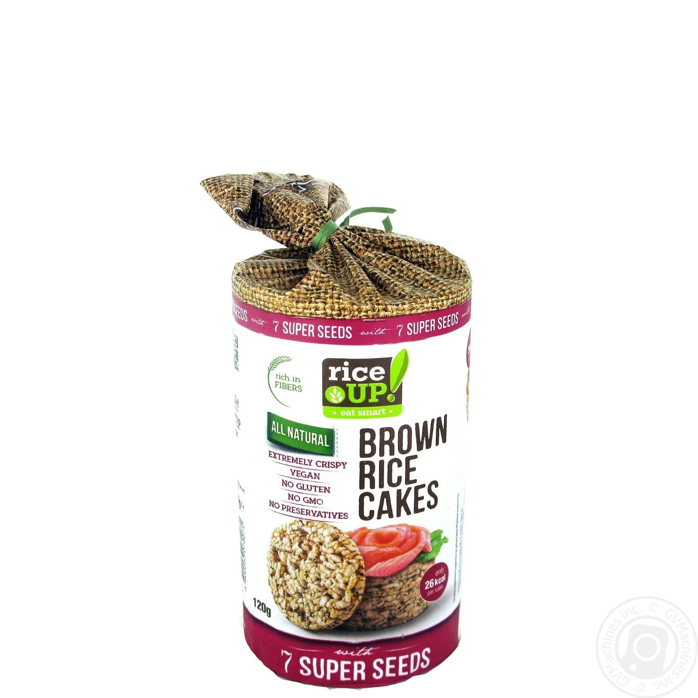 Хлібці рисові Rice Up! цільнозернові 7 супер насіння 120г  - купить со скидкой