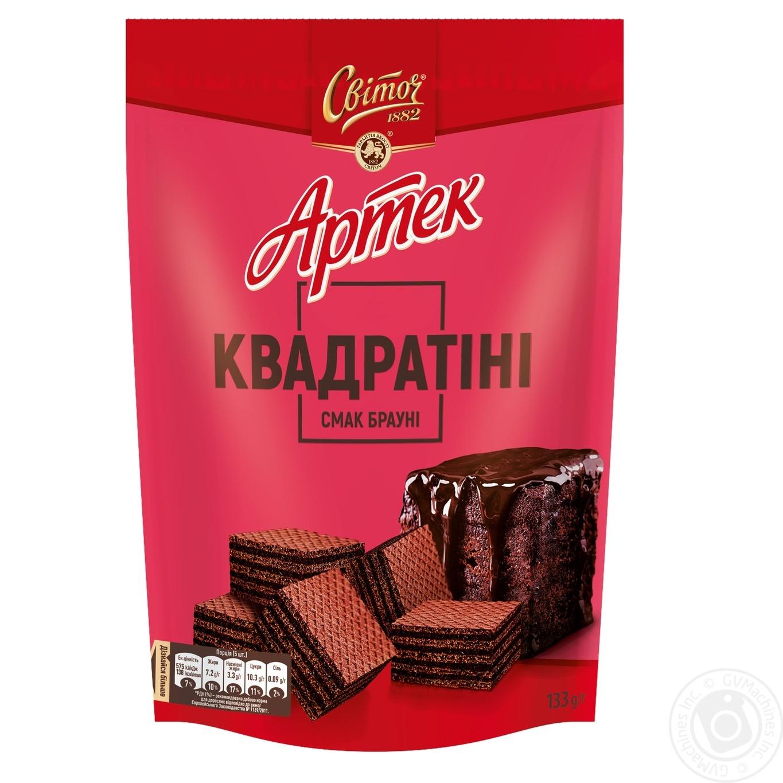 Купить Вафлі Світоч Артек Квадратіні зі смаком шоколадного брауні 133г