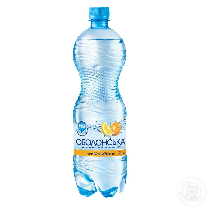 Купить Мінеральна вода, Вода Оболонська зі смаком лимона і апельсина сильногазована 2л