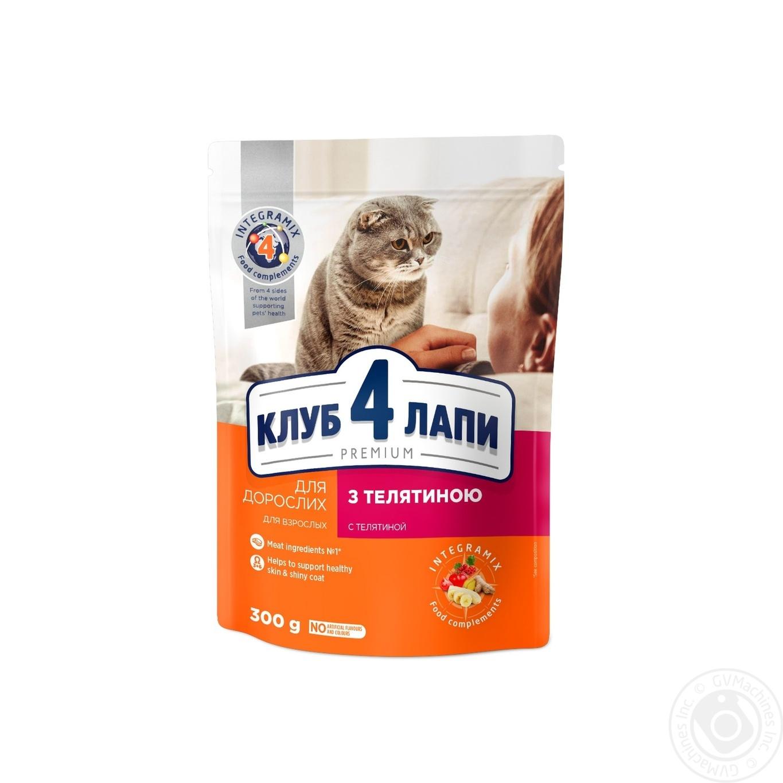 Купить Корм сухой Club 4 Paws Премиум для взрослых кошек С телятиной 300г