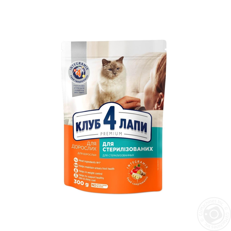 Купить Корм сухой Club 4 Paws Премиум для взрослых стерилизованных кошек 300г