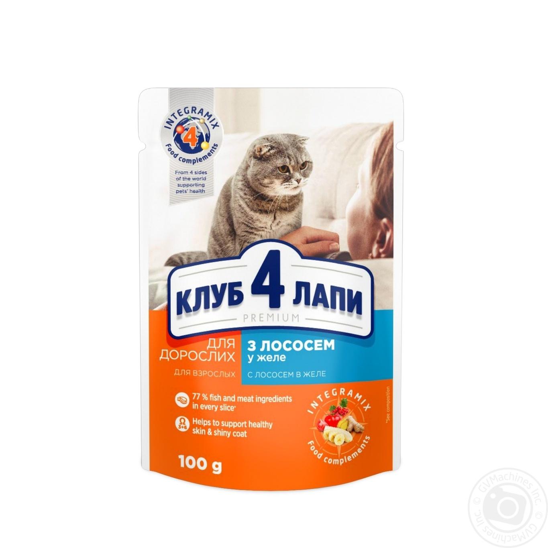 Купить Корм Club 4 Paws Премиум для взрослых кошек C лососем в желе 100г
