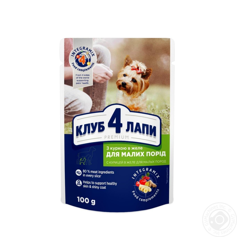 Купить Корм Club 4 Paws Премиум для взрослых собак С курицей в желе 100г