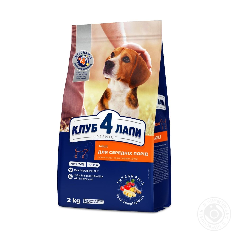 Купить Корм сухой Club 4 Paws Премиум для взрослых собак средних пород 2кг