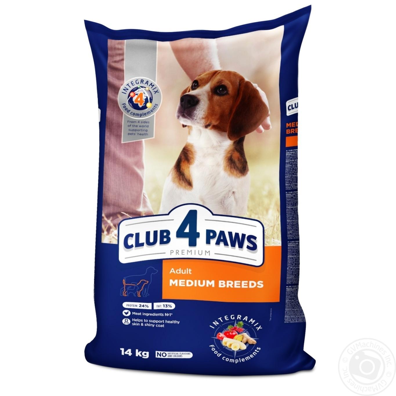 Купить Корм сухий Club 4 Paws Преміум для дорослих собак середніх порід 14кг