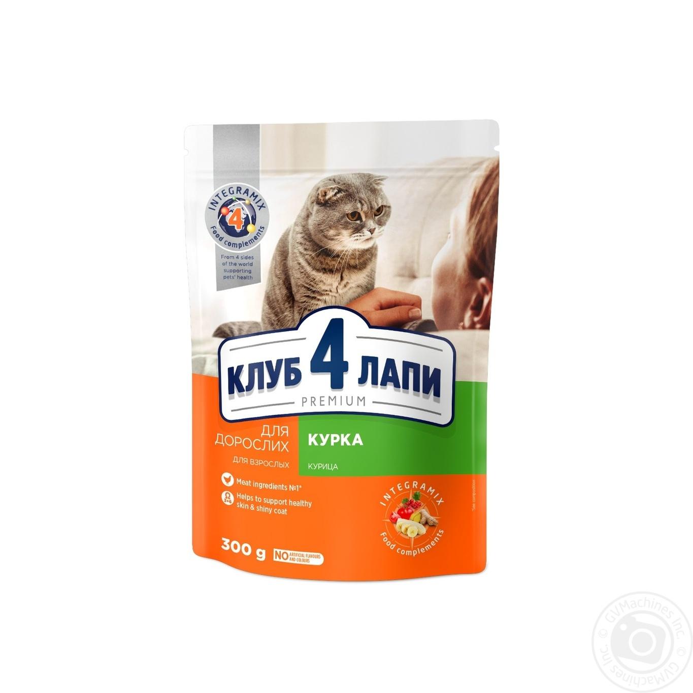 Купить Корм сухой Club 4 Paws Премиум для взрослых кошек С курицей 300г