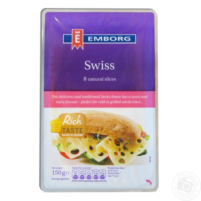 Купить Сир Emborg Швейцарський твердий нарізаний 8 скибочок 45% 150г