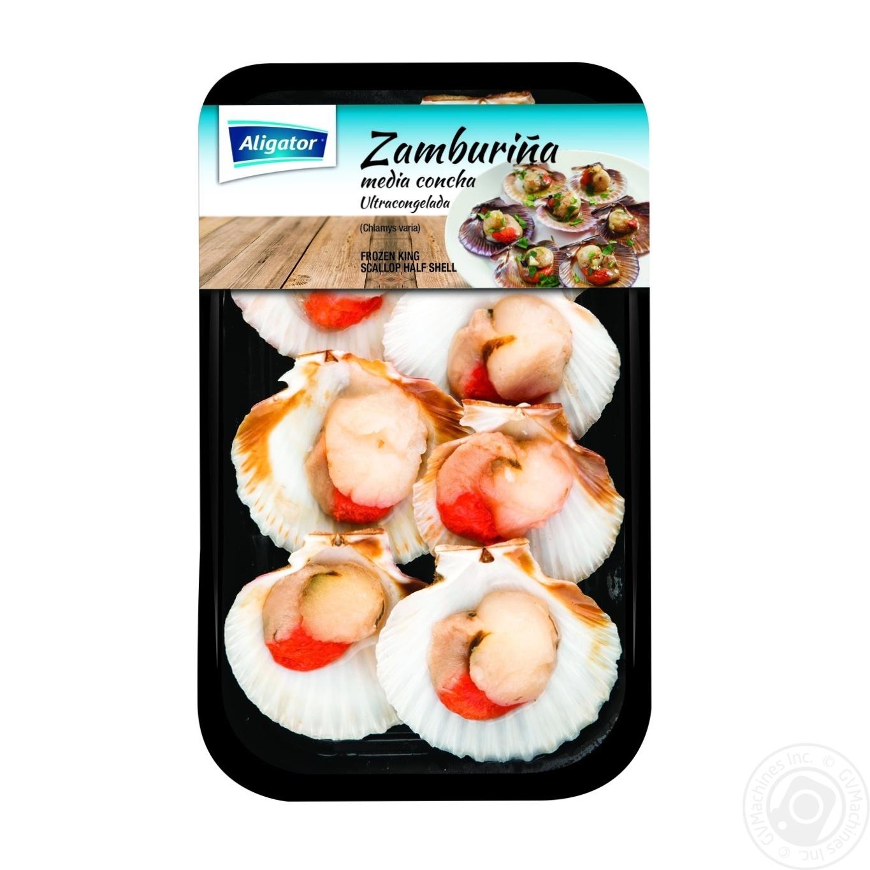 Купить Морепродукти, Морські гребінці Aligator Zamburina у половинках мушель заморожені 200г