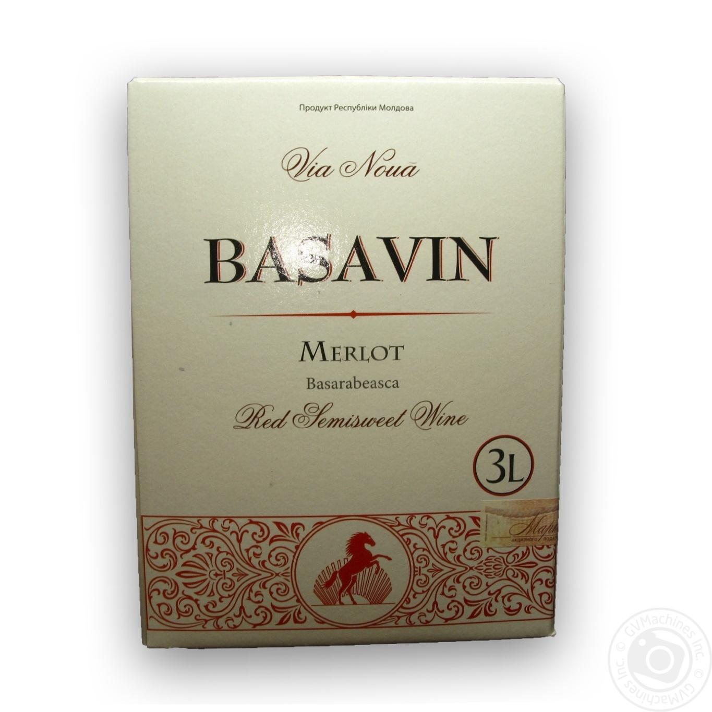 Купить Вино Basavin Мерло червоне напівсолодке 3л