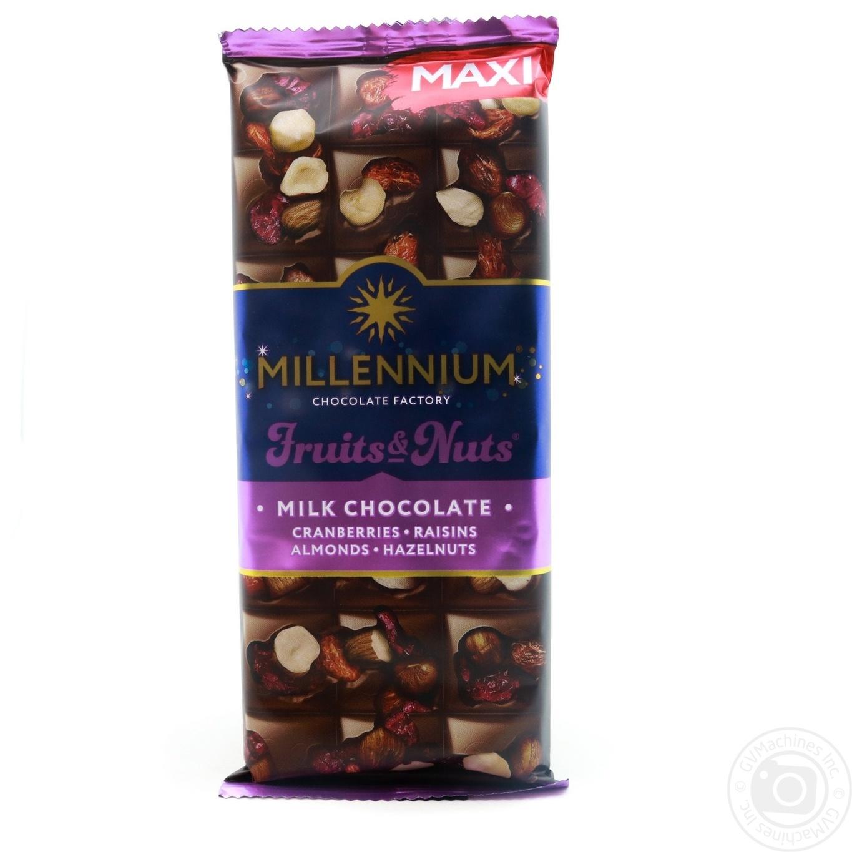 Купить Шоколад в плитках, Шоколад молочний Millennium Fruits&Nuts з мигдалем, лісовими горіхами, журавлиною та роздинками 140г