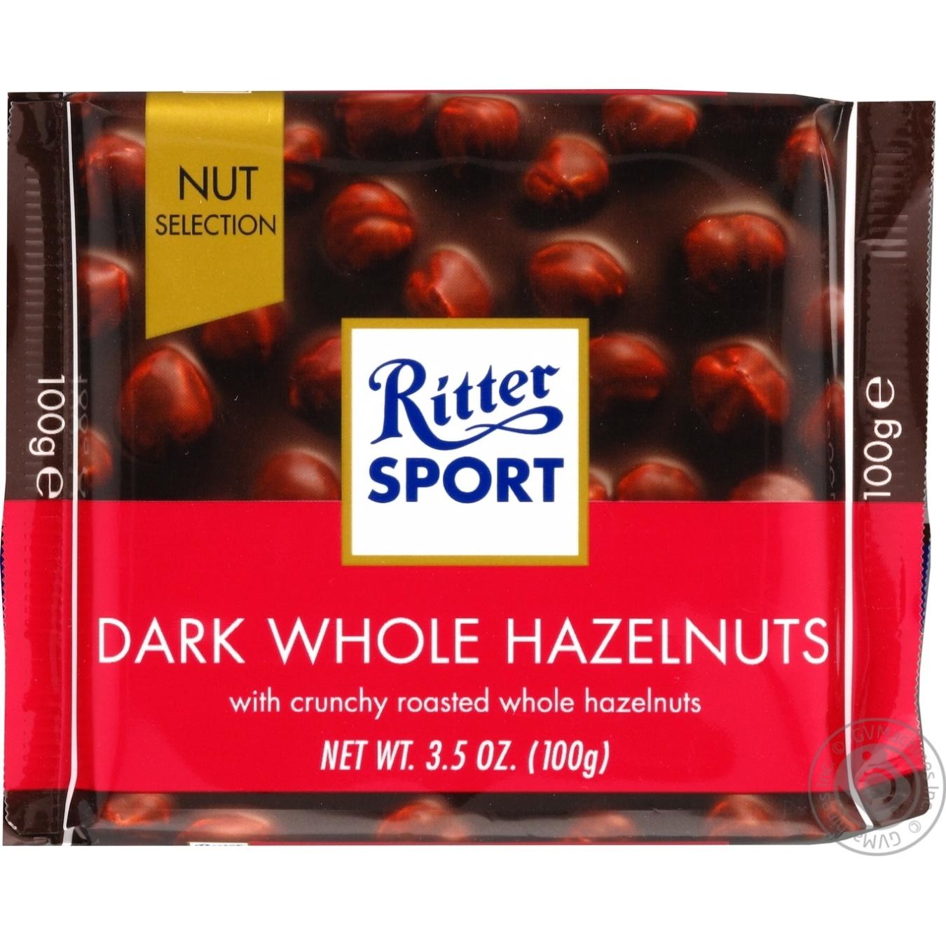 Купить Шоколад в плитках, Шоколад темний Ritter Sport з цільними лісовими горіхами 100г