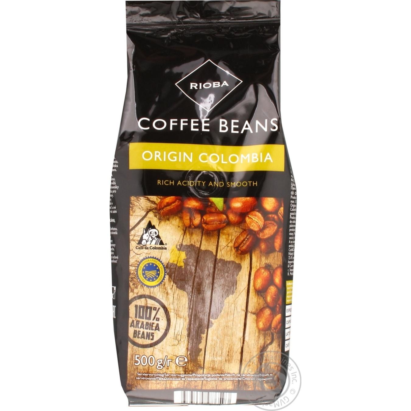 Купить Кофе Rioba колумбийский натуральный в зернах 500г