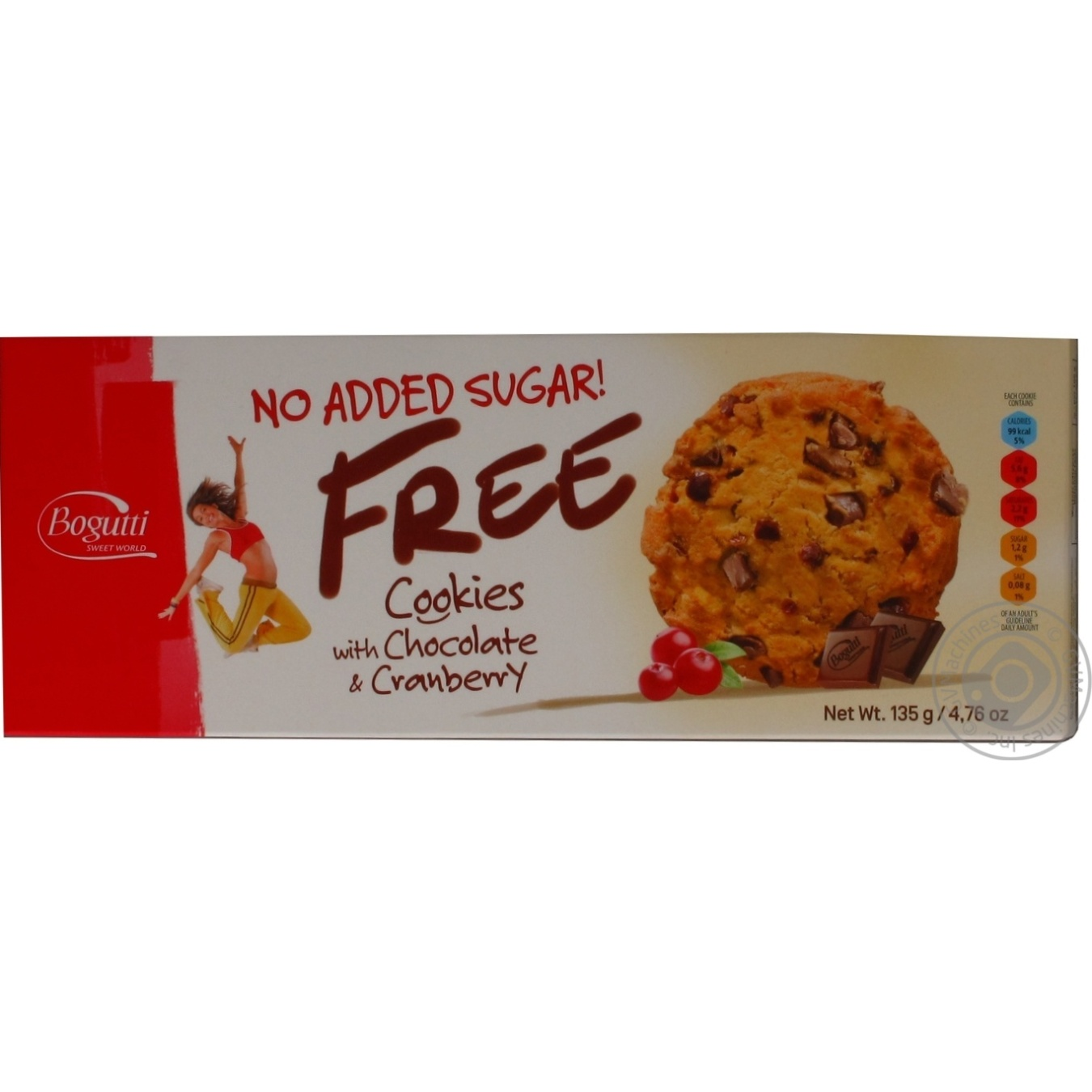 Печиво Bagutti без цукру з шоколадними чіпсами та журавлиною 135г