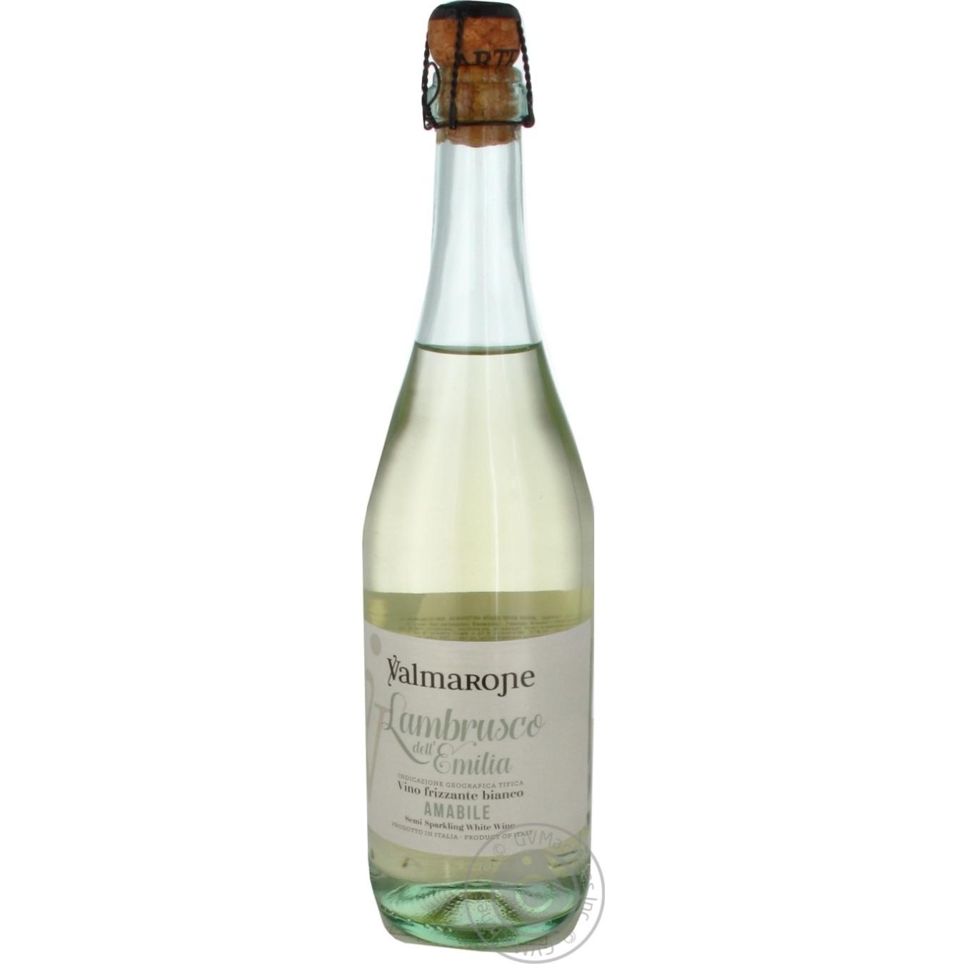 Купить Вино игристое Valmarone Lambrusco белое полусладкое 0, 75л
