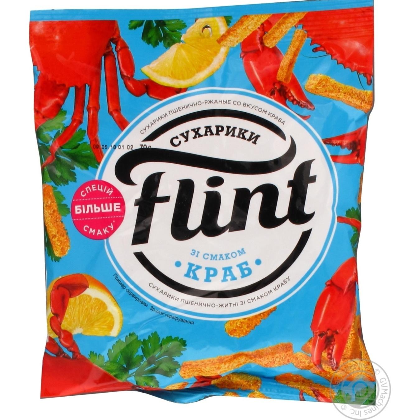 Купить Сухарики Flint пшенично-ржаные со вкусом краба 70г