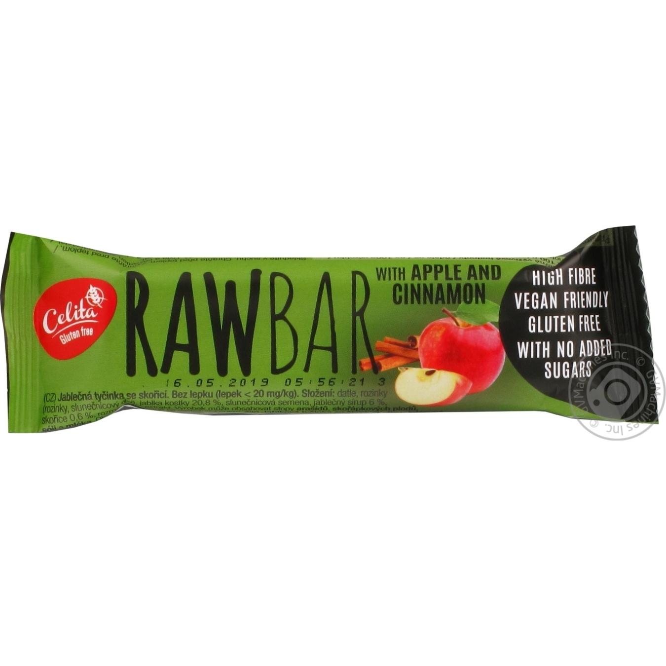 Купить Батончик Celita RawBar с яблоком и корицей безглютеновый 40г