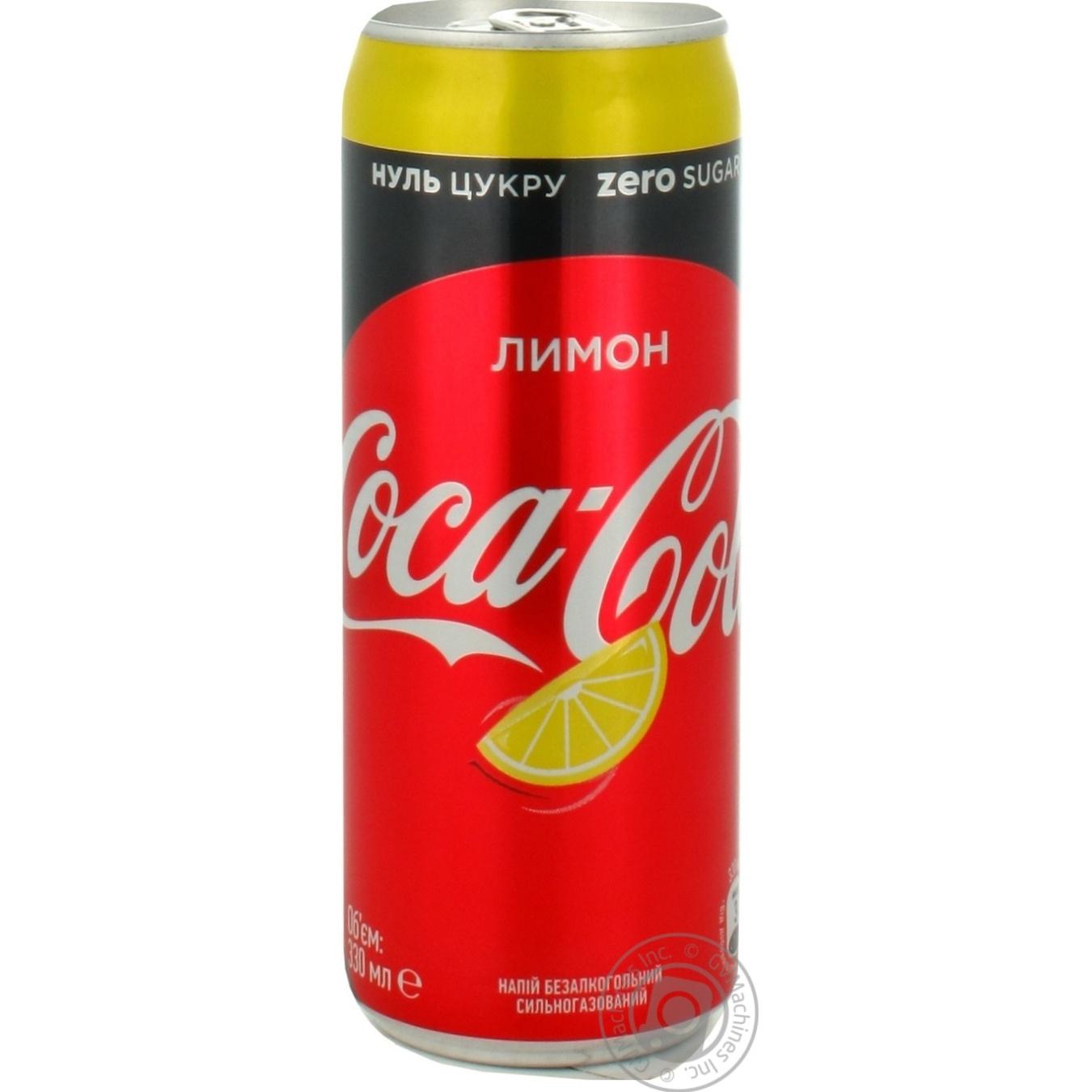 Купить Солодка вода, Напій газований Coca-Cola Zero Lemon ж/б 0, 33л