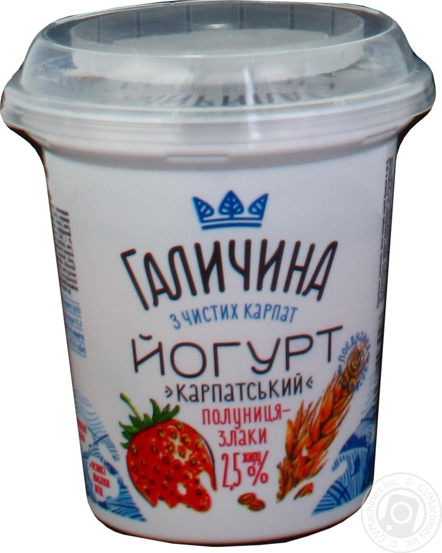 Купить Йогурт Галичина Клубника-Злаки 2, 5% 280г