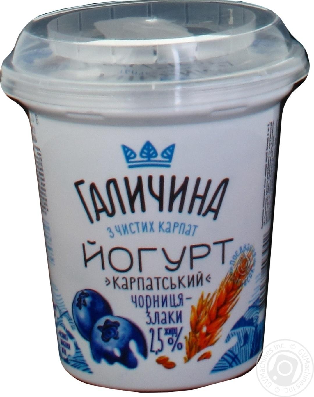 Купить Йогурт Галичина Черника-Злаки 2, 5% 280г