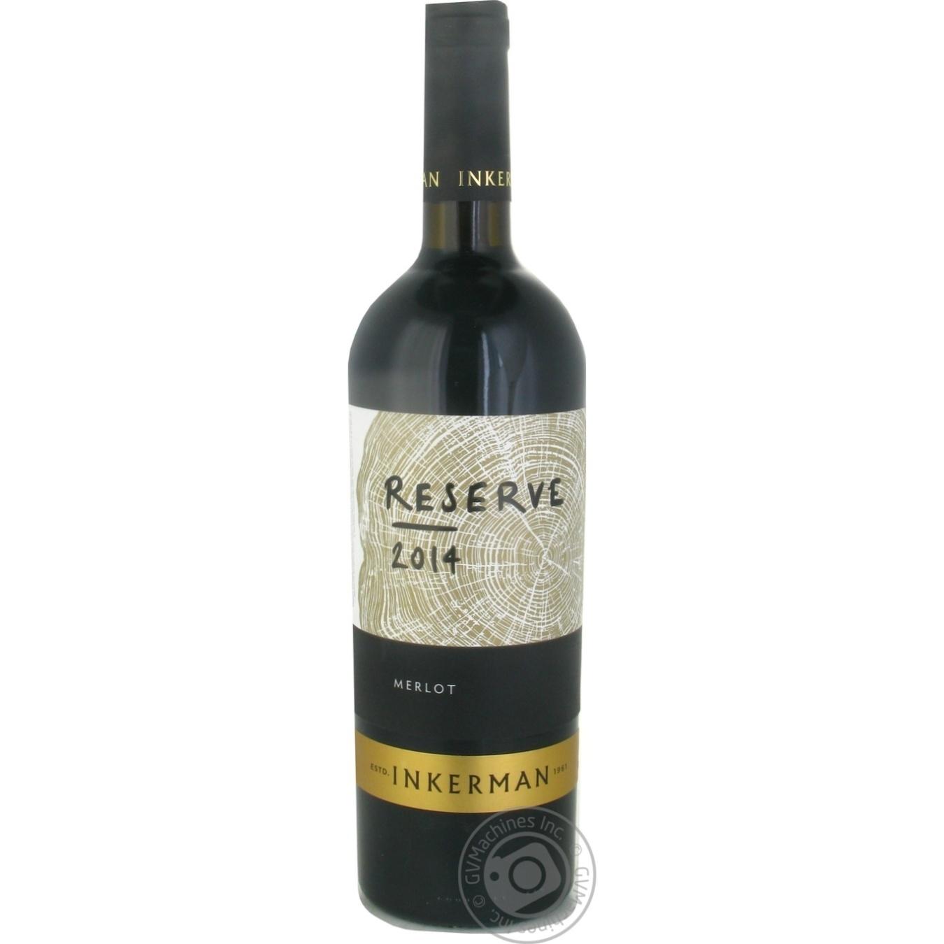 Купить Алкоголь та енергетики, Вино Inkerman Reserve Мерло червоне сухе 10-14% 0, 75л