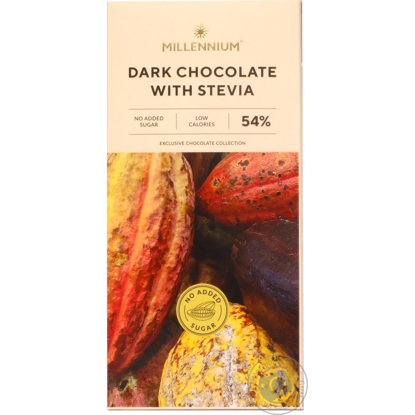 Шоколад Millennium чорний зі стевією 54% 100г