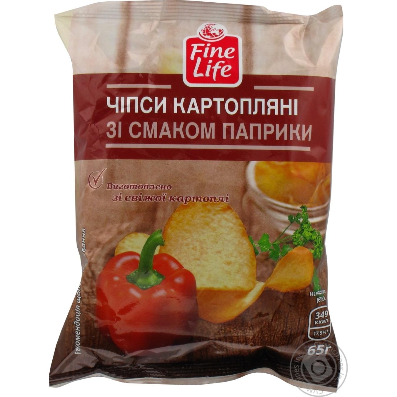 Купить Чипсы Fine Life картофельные со вкусом паприки 65г