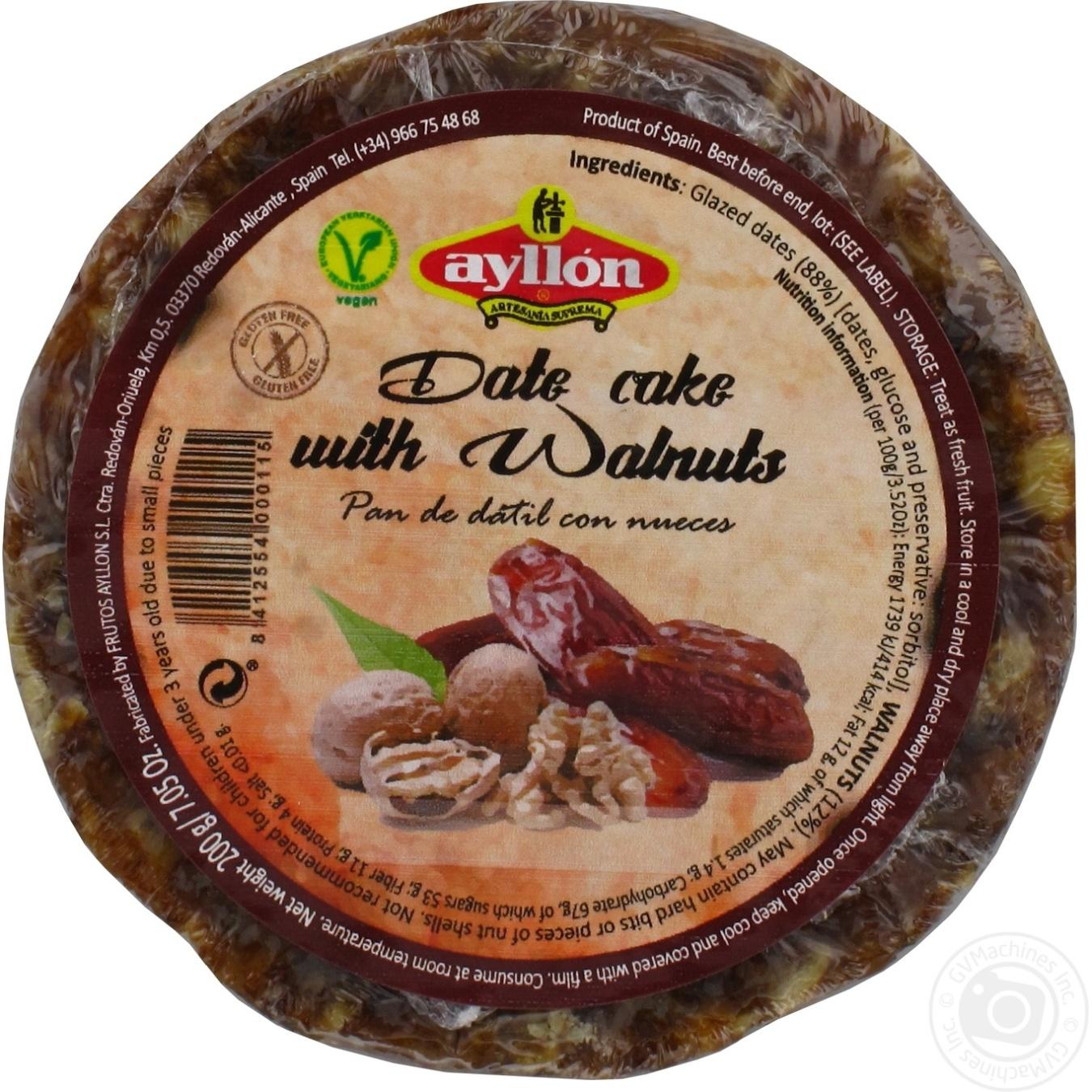 Фруктовий пиріг Ayllon фініки горіх 200г  - купить со скидкой