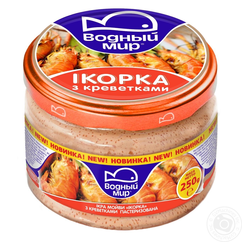 Купить Икра мойвы Водный мир Икорка с креветками пастеризованная 250г