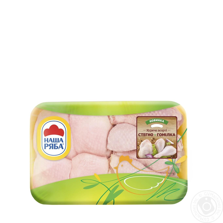 Купить Куриное ассорти Наша Ряба бедро и голень (упаковка СЭС ~ 900-1400г)