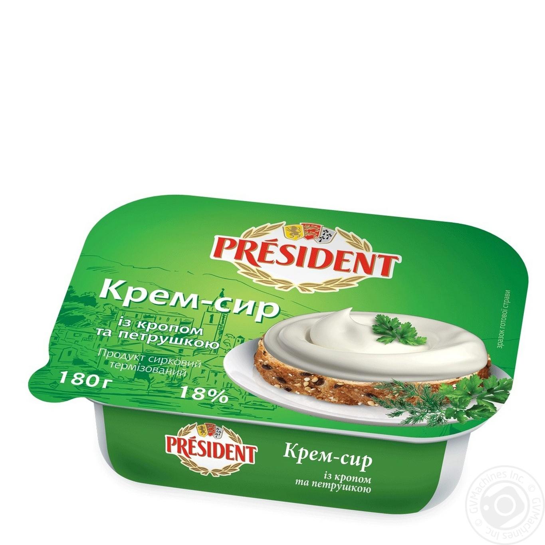 Купить Крем-сыр Президент с укропом и петрушкой 18% 180г