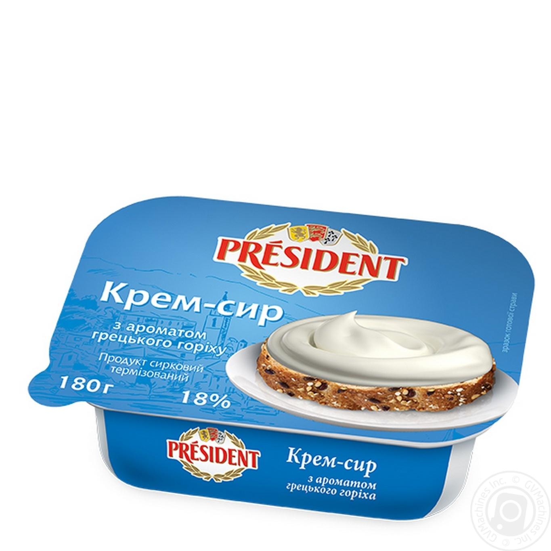 Купить Крем-сыр Президент Творожный с ароматом грецкого ореха 18% 180г