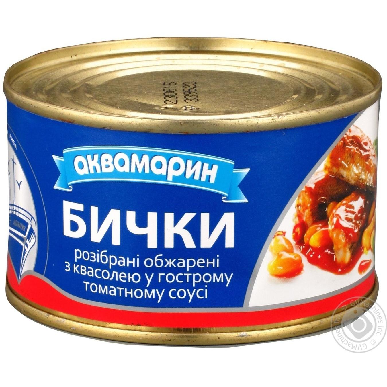 Бички Аквамарин обжарені з квасолею у гострому томатному соусі 230г
