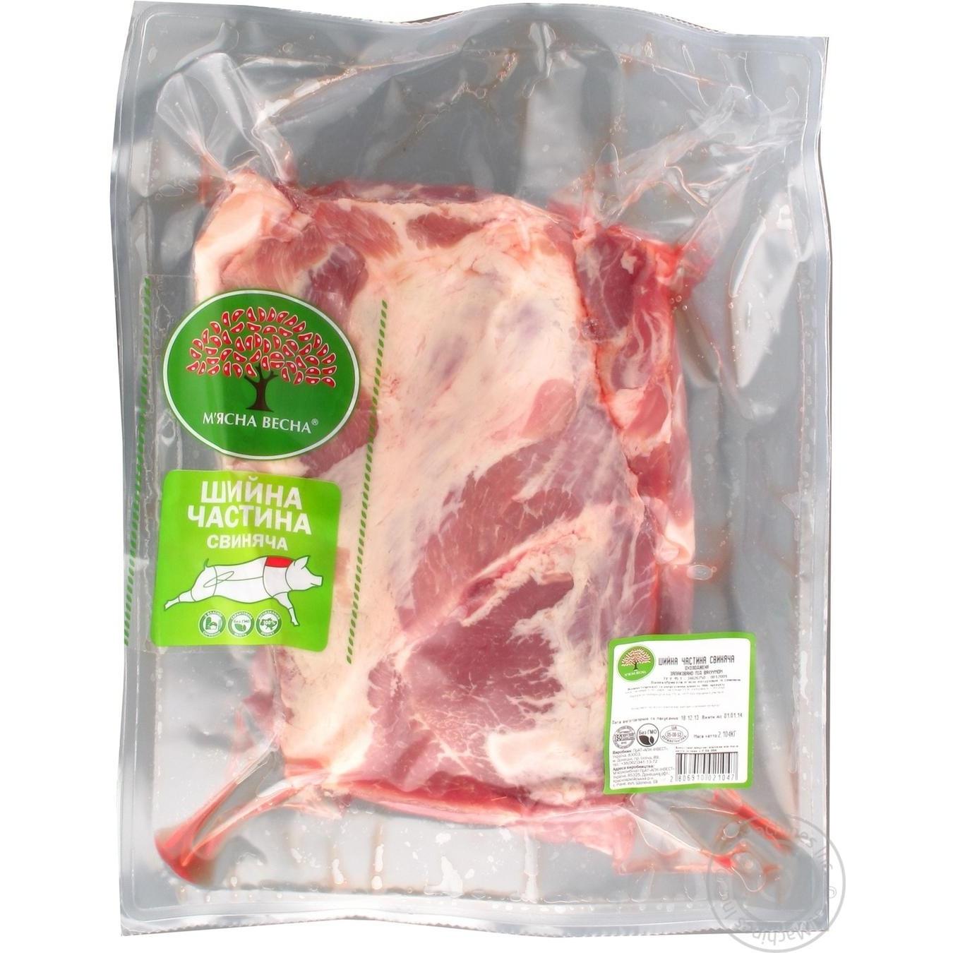 Купить Свіже м'ясо, Шийна частина М'ясна весна свиняча охолоджена 2104г Україна
