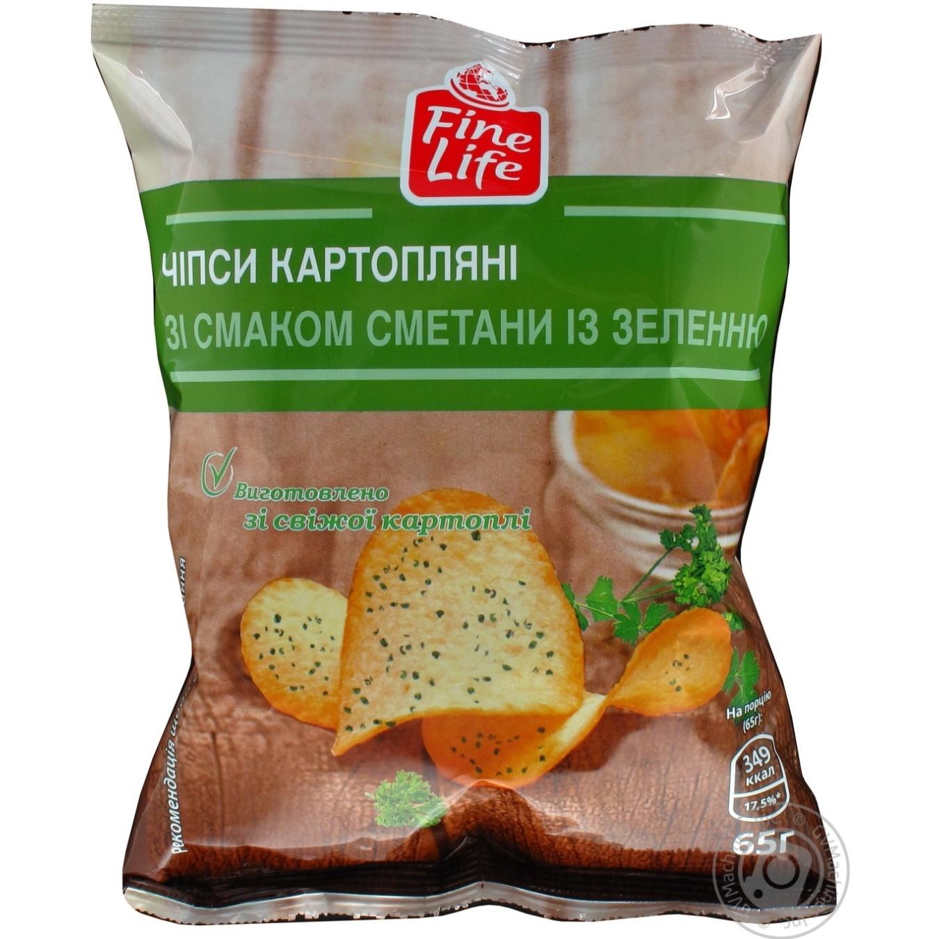 Купить Чипсы Fine Life картофельные со вкусом сметаны с зеленью 65г